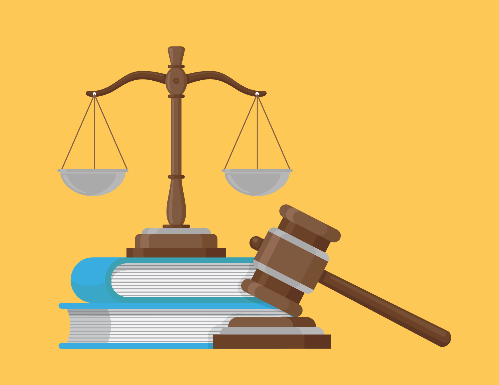 Measuring scale, books and gavel & sounding block
